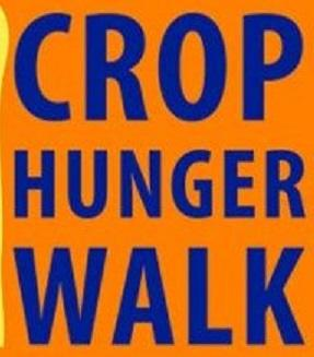 Orange background with words CROP HUNGER WALK in blue