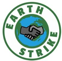 Round circle with two shaking hands in the middle over a earth and the words around it Earth Strike