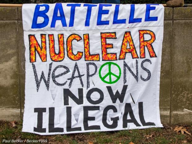 Sign saying Battelle Nuclear weapons now illegal