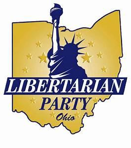 Yellow silhouette of State of Ohio with blue statue of liberty and the words Libertarian Party