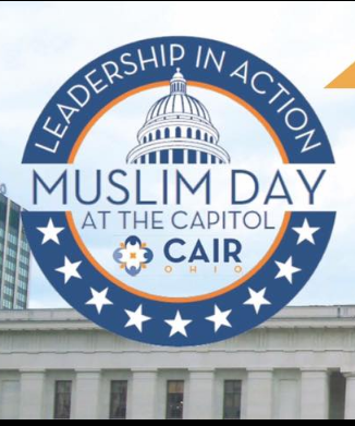 Blue circle with stars at the bottom and the words Leadership in action Muslim day at the capitol and a picture of the statehouse