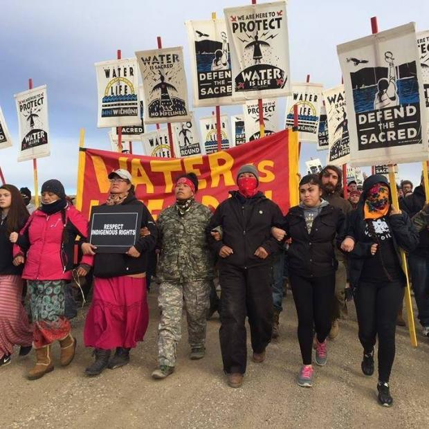 People marching at Standing Rock