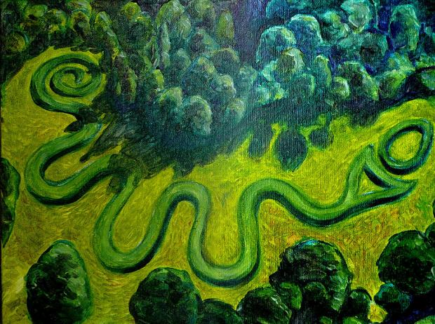 Bird's eye view of the serpent mound, a green snaky looking thing on the ground, surrounded by trees