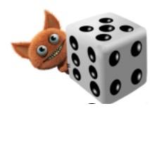 Little pointy-eared creature with big eyes and a toothy smile peeking out from behind a dice