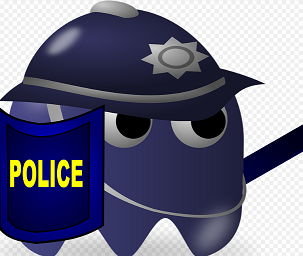 Pac man dressed like a policeman