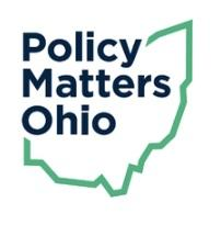 Blue words Policy matters Ohio within a frame of a green Ohio silhouette
