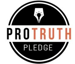 Black circle with lightbulb image in middle top, the word Protruth across the middle in black and orange on white and the word pledge in white below