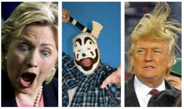 Hillary with mouth and eyes scarily open, Insane Clown Posse guy in scary whiteface with an ax, and Trump with his hair blowing straight up in the air