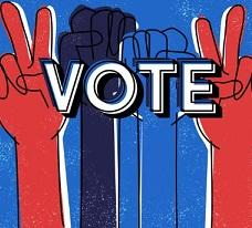 Colorful image of two fists of different colors and two hands making peace signs behind the word VOTE