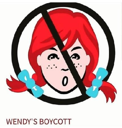 Drawing of girl's head with red pigtails with blue bows and freckles with a circle and line through it in black on top of her indicating No, and the words Wendy's Boycott