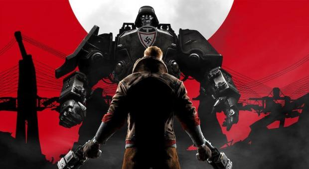 A red and white background with a superhero character all in black with his back to us and his collar up in the back holding what looks like guns in each hand and facing a transformers looking monster man