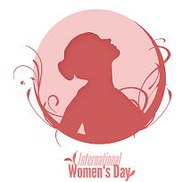 Drawing of a side view of a woman all pink she's looking up and her hair is in a bun and there are squiggly lines around a circular area around her and the words International Women's Day