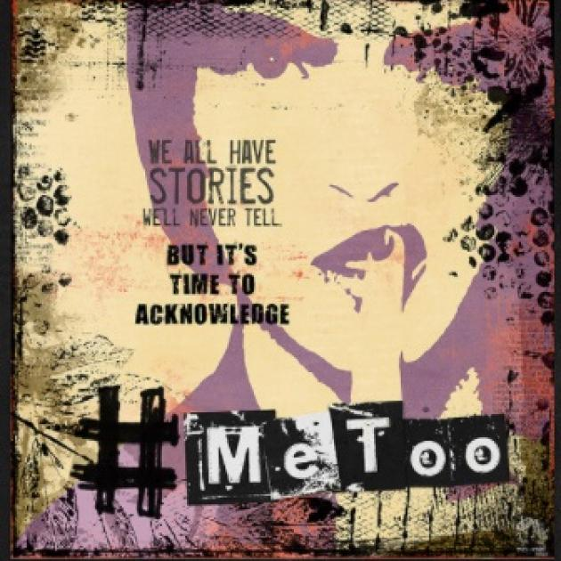 Image of a woman's face in purple with finger in front of her lips and words We all have stories so its time to acknowledge #MeToo