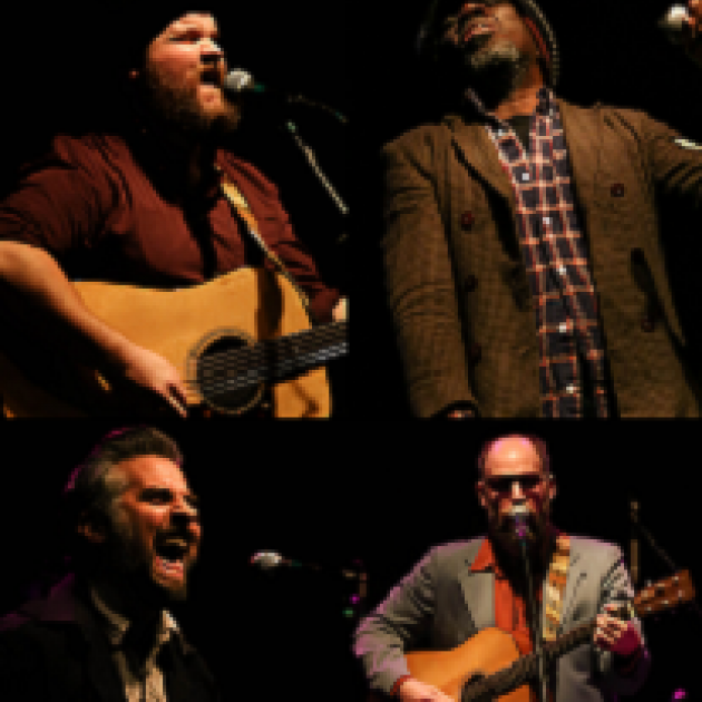 Four photos of men in band put together in one block, top left a white man with a brown beard playing a guitar and signing, top right a black man in a hat and goatee with plaid shirt and brown jacket leaning away from a mic while singing, bottom left a white man with grayish hair mouth wide open at mic and bottom right a bald man playing a guitar at a mic