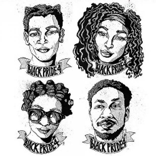 Four sketches of four young black people two men and two women with words Black Pride 4 under each of them like in a ribbon