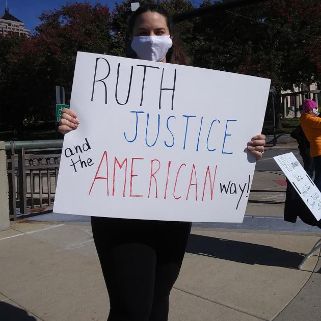 Sign saying Ruth Justice and the American Way