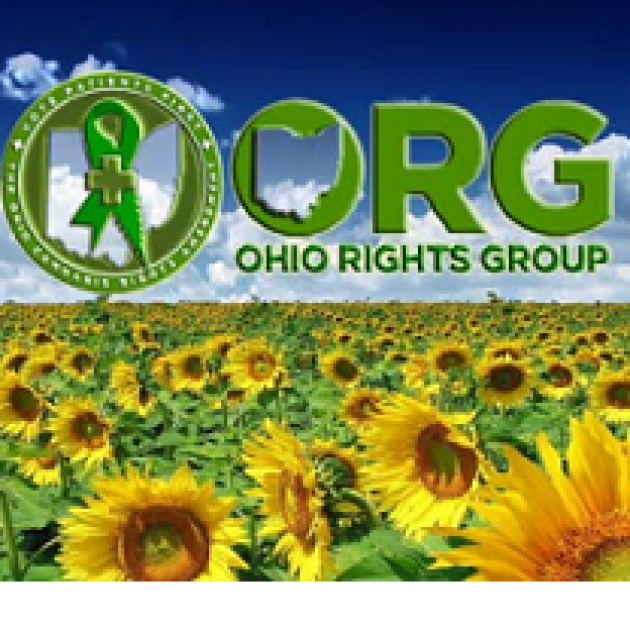 Field of sunflowers and the words ORG Ohio Rights Group