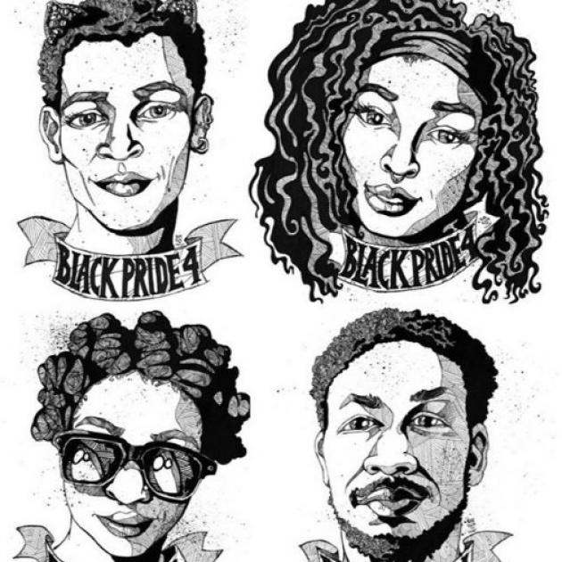 Sketch of four young black people, two women, two men, with words BlackPride4
