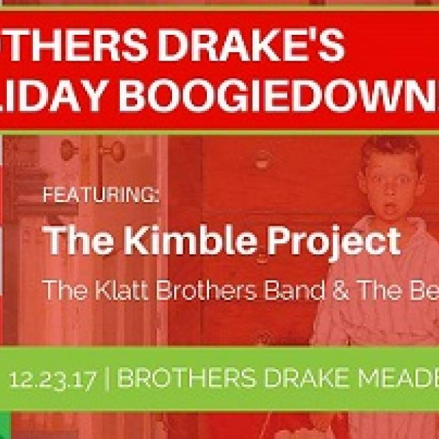 Red background, young boy in pajamas with surprised look on his face, words Brothers Drake Holiday Booigedown featuring the Kimble Project the Klatt Brothers