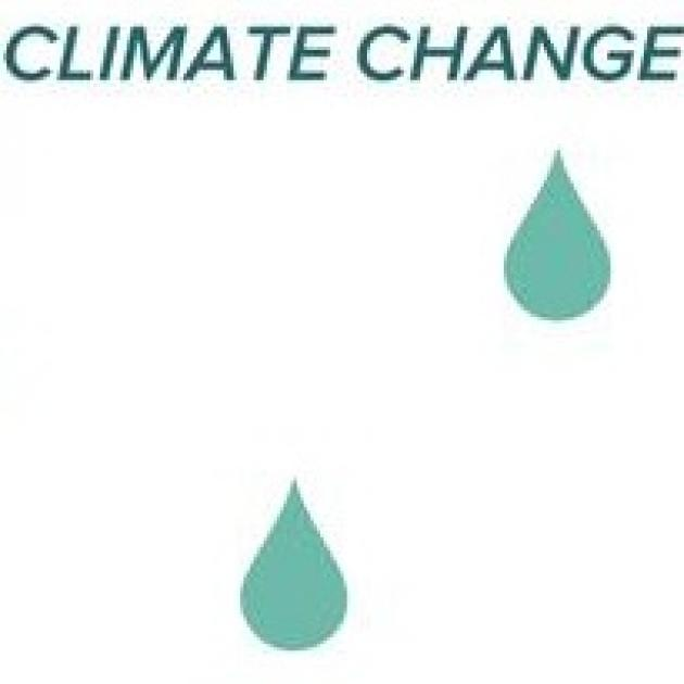 The words climate change and two drops of water in blue-green