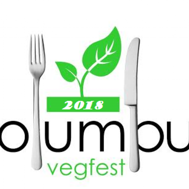 Green leaf and a fork and knife and words Columbus Vegfest
