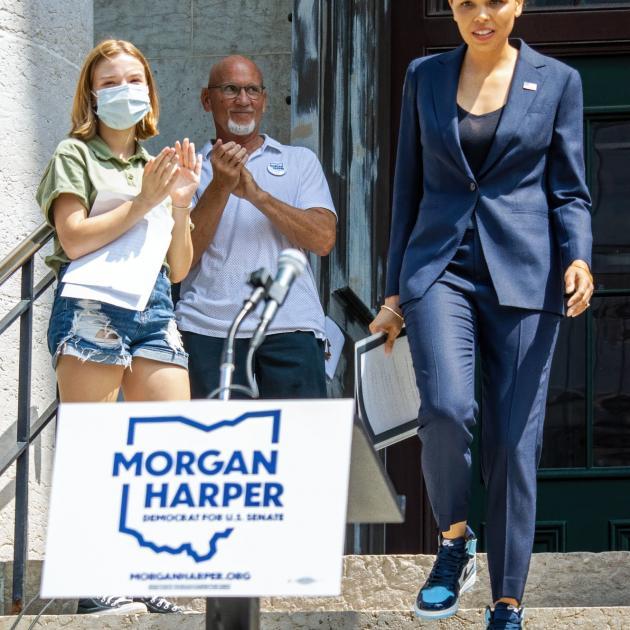 Morgan Harper at rally