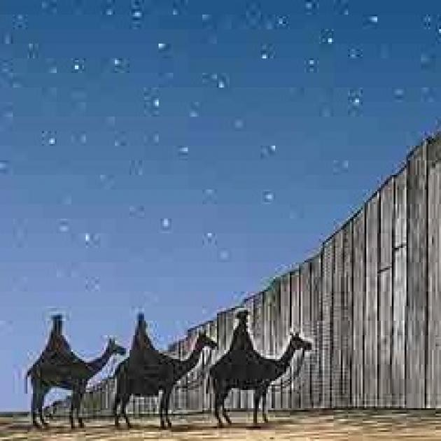 A drawing of three ken in robes in a line on three camels standing at a big tall wall with a starry sky in the background
