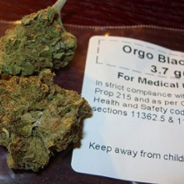 Buds of pot on  the left that look like just a ball of dirt, and a paper next to them that says Orgo Blackberry for Medical