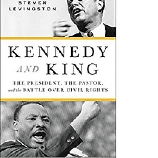 Book cover with photo of John F Kennedy and and MLK both shouting with their fists in the air and the word Kennedy and King