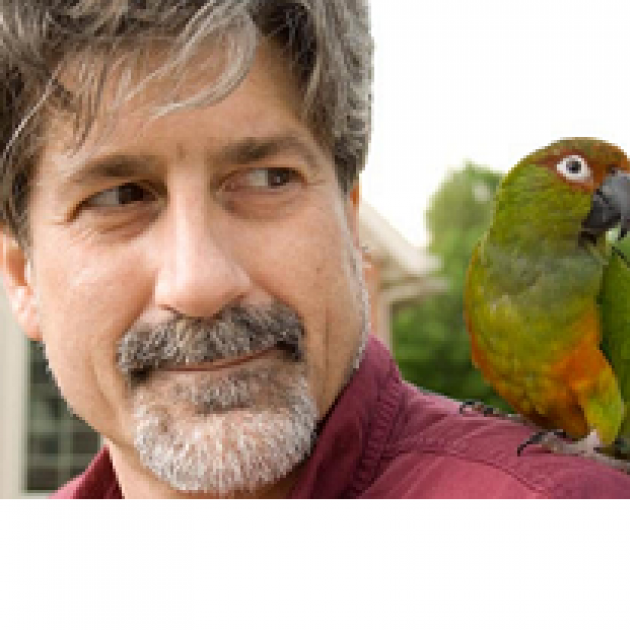 White man with grayish hair and beard with green parakeet on his shoulder