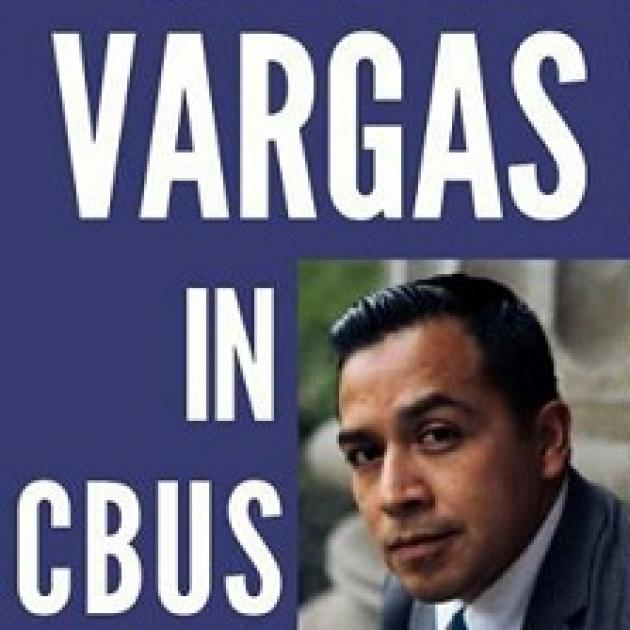 Blue background with words Vargas in Cbus in white and a photo headshot of a Latino looking man with black hair and a suit on
