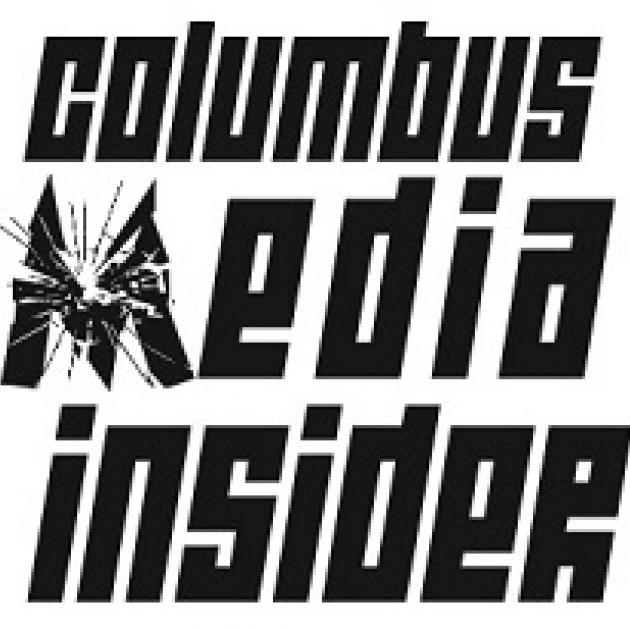 Words in black Columbus Media Insider with the M looking like broken glass