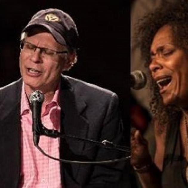 Two photos side by side one of a man in a hat singing at a mic and the other of a woman singing at a mic