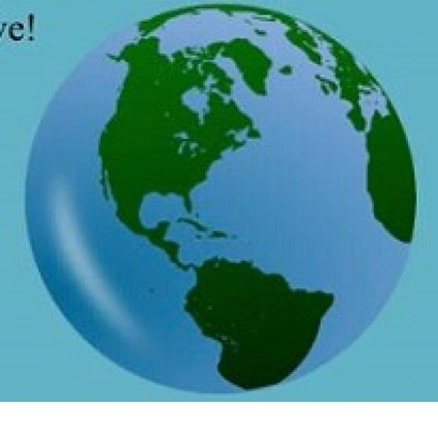 Blue background and an image of the earth, a round blue circle with green continents