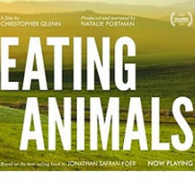 The words Eating Animals against a rolling plain