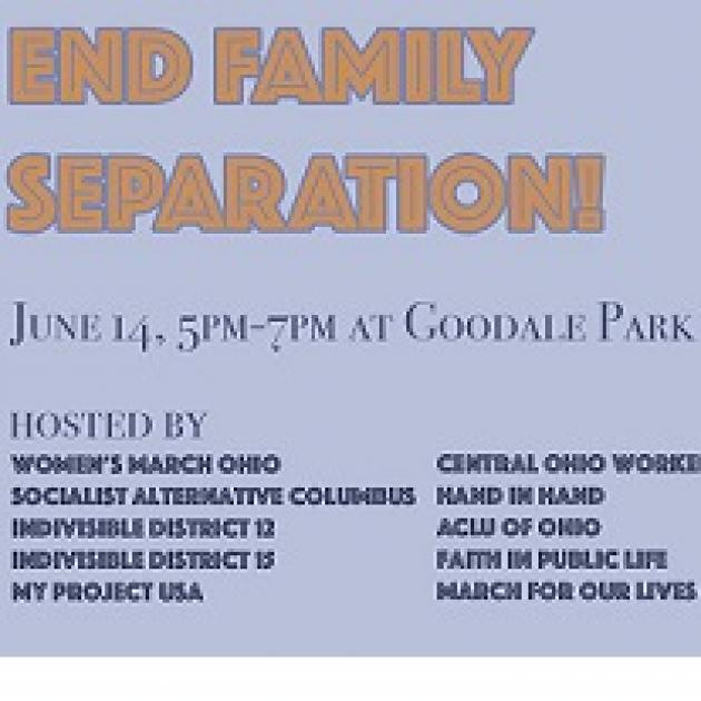Light blue background and orange letters saying End Family Separation and then the details of the event