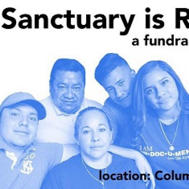 Blue and white photo with a family, two young boys, a young woman, a husband and a woman all with Latino look to them with word Sanctuary at top