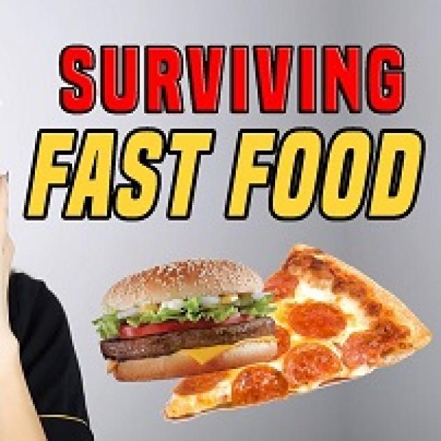 The words Surviving Fast Food and a hamburger next to a piece of pizza