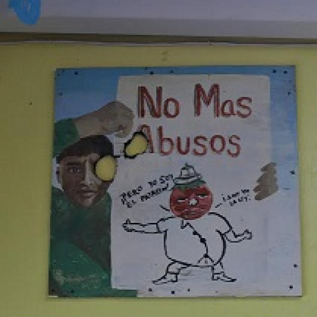A poster of a drawing of a man and the words No Mas Abusos