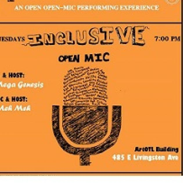 Drawing of a microphone against an orange background and words describing the event