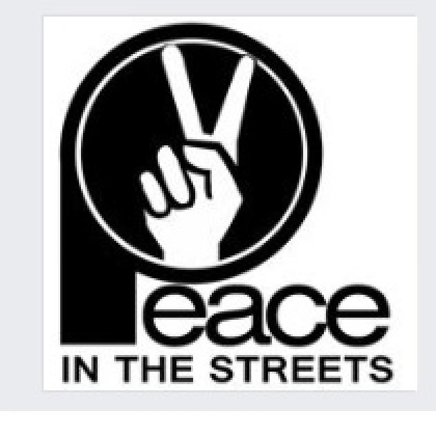 Black circle with white hand making peace sign with words Peace in the Streets