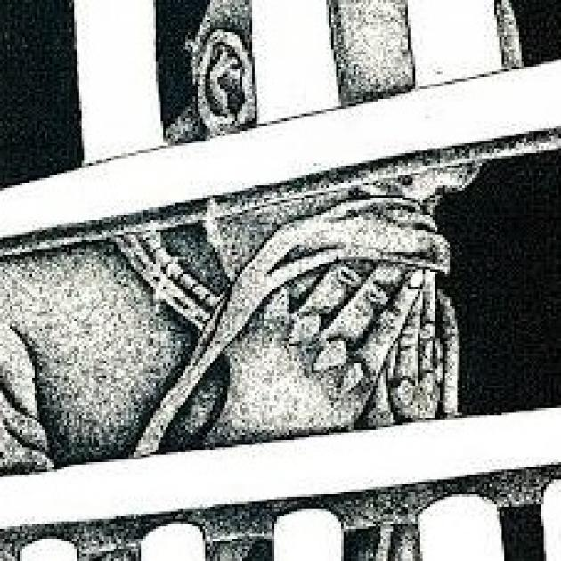 Black and white sketch of man behind bars holding hankerchief to his face