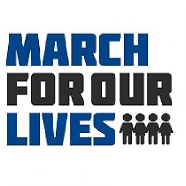 The words March for our Lives and little drawings of silhouettes of people