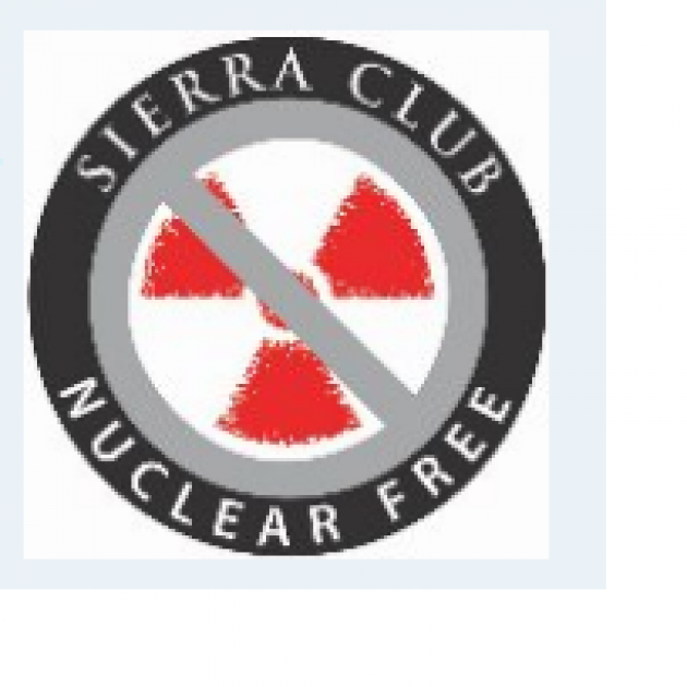Circle logo with a radiation sign in the middle and a gray no symbol crossing over it and the words Sierra Club Nuclear Free