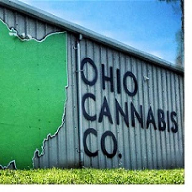 Green state of Ohio shape on a sign and words Ohio Cannabis Co.