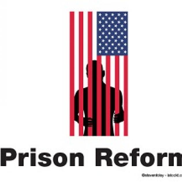 A flag hanging sideways and a silhouette of a man behind the red stripes as if they are bars and the words Prison Reform at the bottom