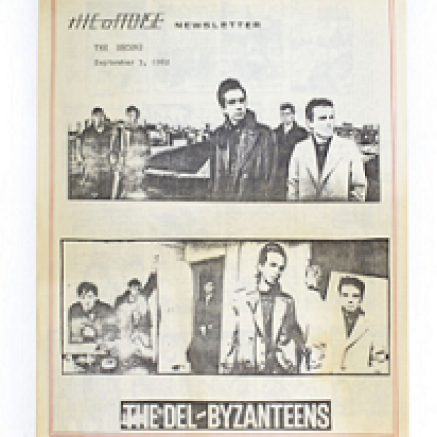 Black and white old newspaper with photos of guys from a band and words The Offense and The Del Byzanteens