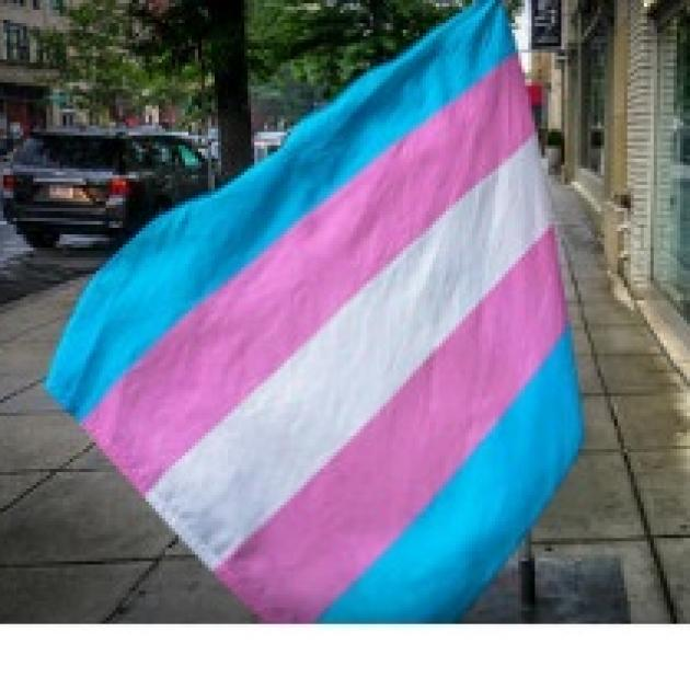Flag waving with pastel blue, pink and white stripes