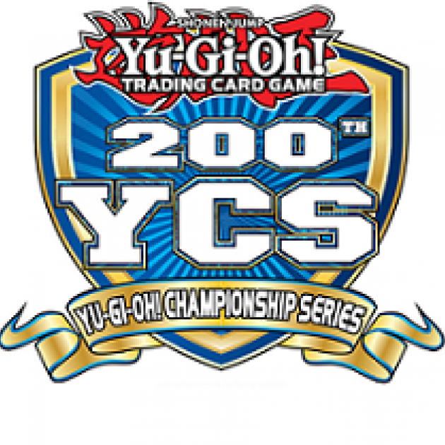 Logo of a blue shield with Yu-Gi-Oh! trading card game 200 YCS