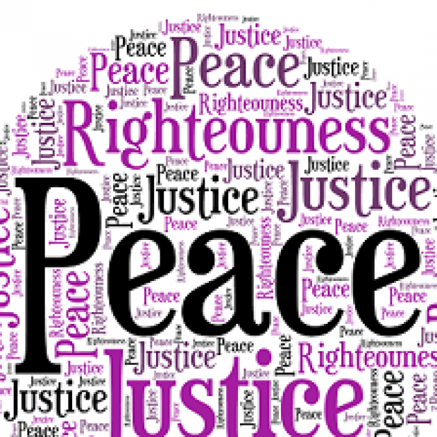 The word Peace surrounded by lots of other words Righteousness, Justice